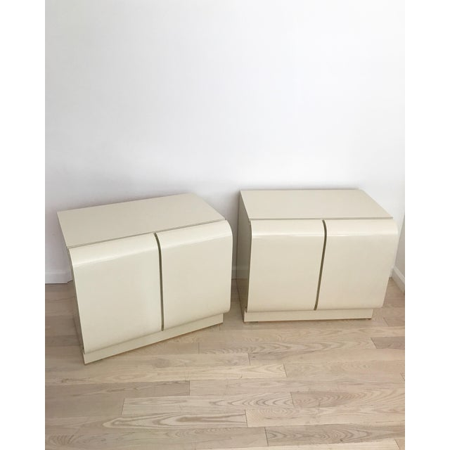 Vintage Waterfall White Laminate Nightstands - A Pair - Image 2 of 9