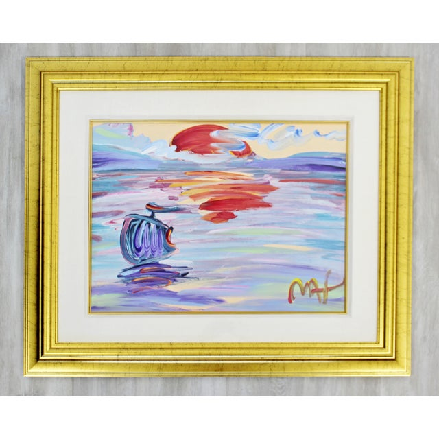 Paper Contemporary Modern Framed Peter Max American Sunset Signed Acrylic Painting For Sale - Image 7 of 7