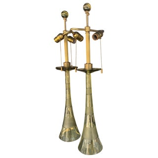 John Hutton for Donghi Vintage 1980s Citrine Italian Glass Lamps - a Pair For Sale