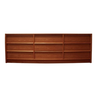 Long Teak Minimalist Danish Modern Dresser For Sale