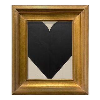 Ron Giusti Mini Heart Cream and Black Acrylic Painting, Framed For Sale