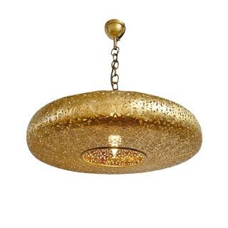 Brass Work Pancake Lantern Medium For Sale