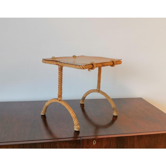 French French Rope Square Side Table by Audoux & Minnet For Sale - Image 3 of 11