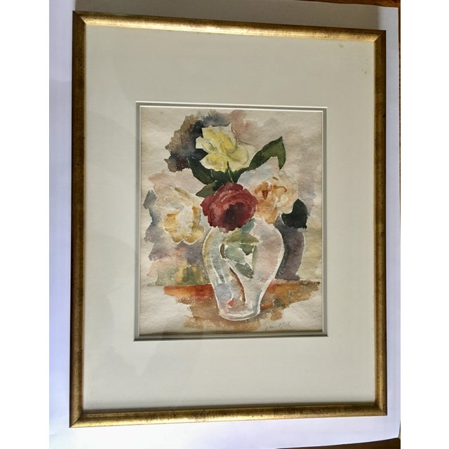 Floral Still Life With Roses Watercolor For Sale In New York - Image 6 of 6