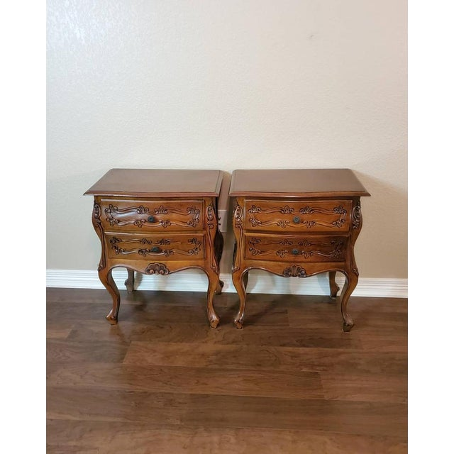 Italian Louis XV Style Carved Walnut Bedside Tables - a Pair For Sale - Image 10 of 11