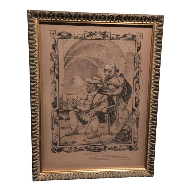 Mid-1800s English Engraving by William Luson Thomas, of Shakespeare's Dogberry and Verges, Framed For Sale