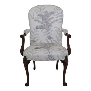 Modern Hickory Chair Co. Fern Print Upholstered Mahogany Arm Chair For Sale