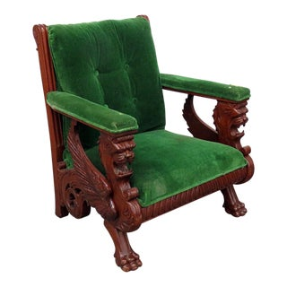 Renaissance Style Green Velvet Upholstered Winged Griffin Chair For Sale
