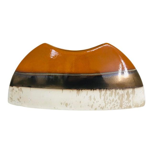 Contemporary Oblong Decorative Centerpiece Glazed Pottery Vase For Sale