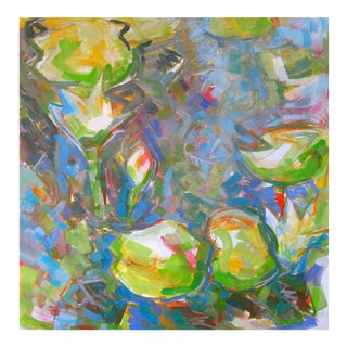 "Large Abstract Oil Painting by Trixie Pitts ""Water Lilies 3"""