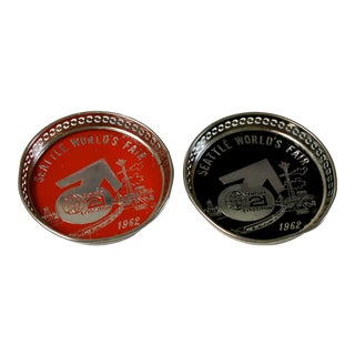 Seattle 1962 World's Fair Black and Red Century 21 Exposition Coasters - a Pair For Sale