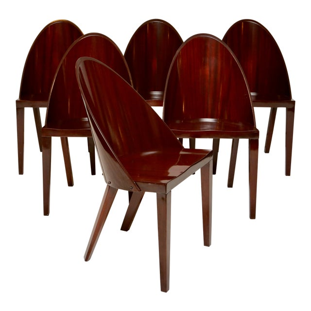 Philippe Starck Royalton Mahogany Dining Chairs - Set of 6 For Sale