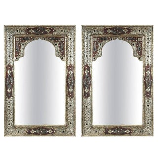 Moroccan Mirrors With Silvered Metal Filigree and Leather - a Pair For Sale