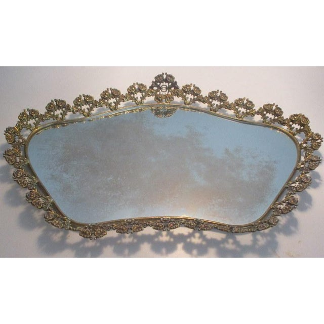 Metal Large Vintage Mirrored Plateau Tray With Brass Flowers For Sale - Image 7 of 7