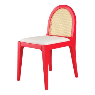 Juliette Dining Chair - Bull's Eye Red, Optic White Linen For Sale