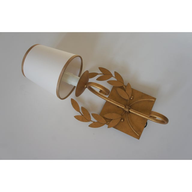 Metal Julie Neill Gilt Metal Wreath Sconce For Sale - Image 7 of 11