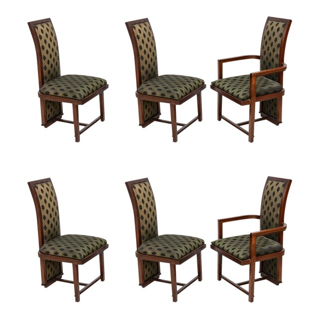 Set of 12 Frank Lloyd Wright Taliesin Mahogany Dining Chairs by Henredon For Sale