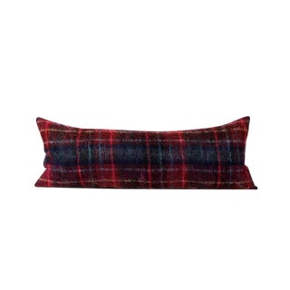 Red Plaid Texture Bed Throw Pillow
