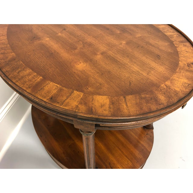 Vintage Mid Century Banded Walnut Oval End Side Table by Heritage For Sale In Charlotte - Image 6 of 13