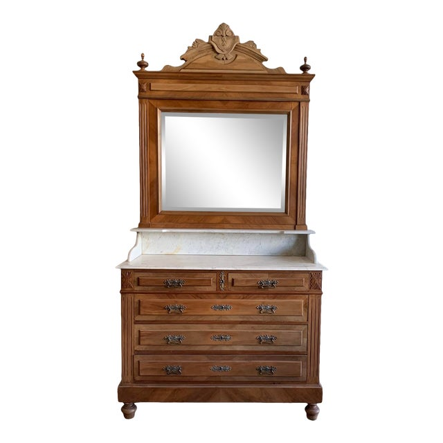 Late 19th Century Victorian Marble Top Chest Of Drawers With Mirror For Sale