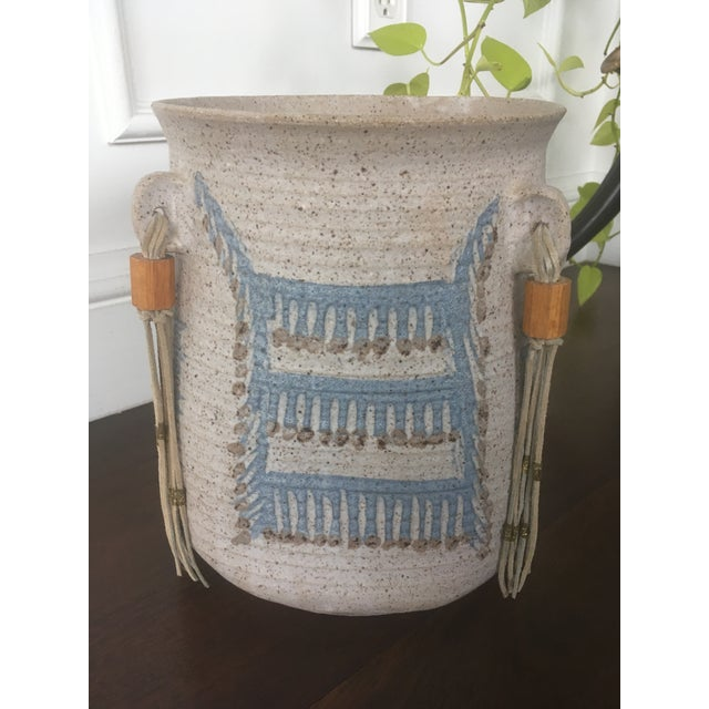 Amazing Vintage Find Super Cool Mid Century Modern / Pottery Stunning Native American Design Beautiful Leather Tassels...