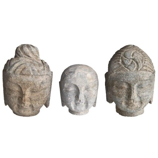 Stone Buddha Heads - Set of 3 - Image 1 of 3