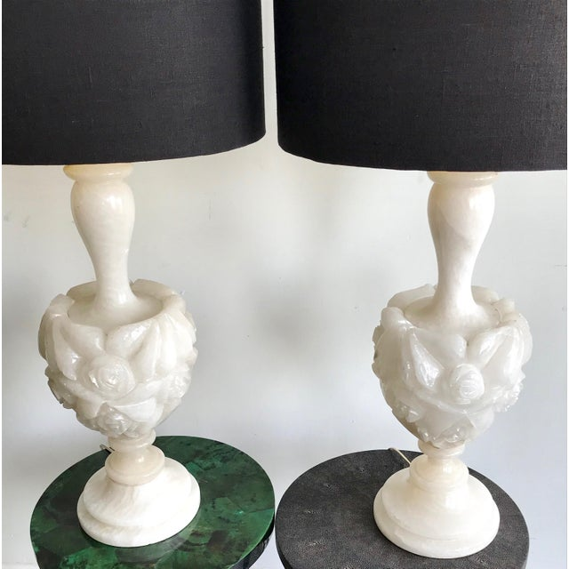 Vintage Floral Carved Alabaster Table Lamps - Pair For Sale In Los Angeles - Image 6 of 7