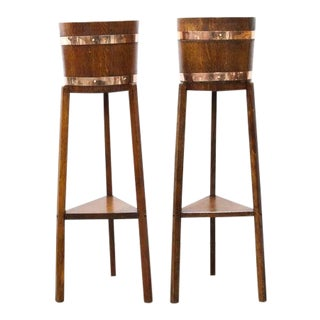 1915s English Copper Bound Jardinieres on Legs-a Pair For Sale