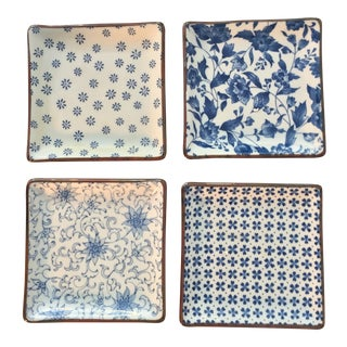 Blue and White Asian Patterned Plates - Set of 4 For Sale