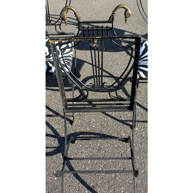 Art Deco Italian Wrought Iron Lyre Swan Set 5 Dining Chairs & Table by Copelon For Sale In Detroit - Image 6 of 11