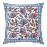 Image of Suman-Nargis Coral, Blue & Camel Reversible Pillow Cover For Sale