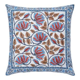 Suman-Nargis Coral, Blue & Camel Reversible Pillow Cover For Sale