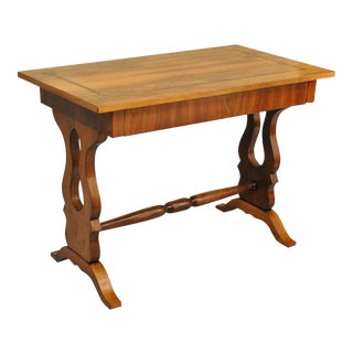 Antique Empire Regency Console Table Desk Flame Mahogany Burl Inlaid One Drawer For Sale