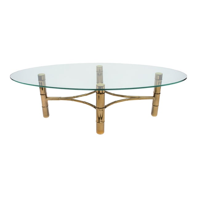 Hollywood Regency Brass Faux Bamboo Oval Coffee Table For Sale
