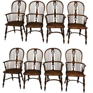 Set of 8 Late 18th Early 19th Century Yew Wood Dining Chairs For Sale