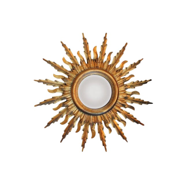 Midcentury French Double Layer Sunburst Mirror With Original Mirror Glass For Sale
