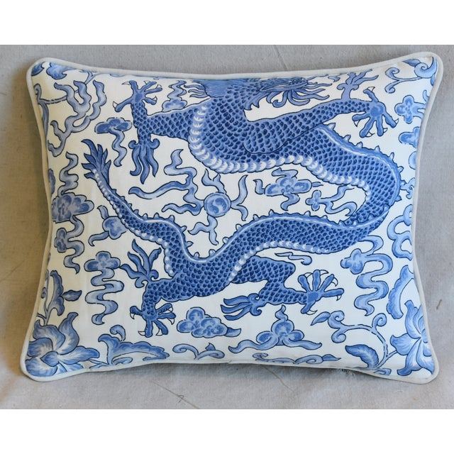 """Cotton Italian Chinoiserie Scalamandre Dragon Feather/Down Pillow 18"""" X 15"""" For Sale - Image 7 of 7"""
