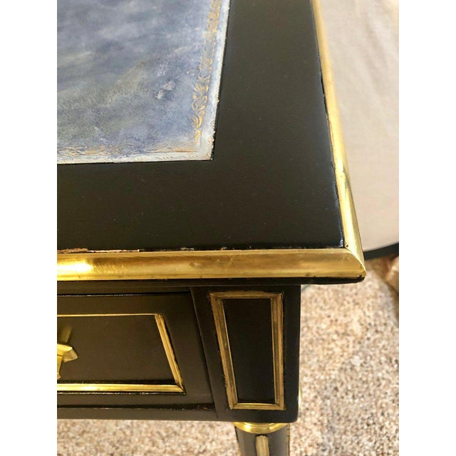 Ebony Jansen Style Hollywood Regency Bronze Mounted Writing Table or Desk For Sale - Image 9 of 13
