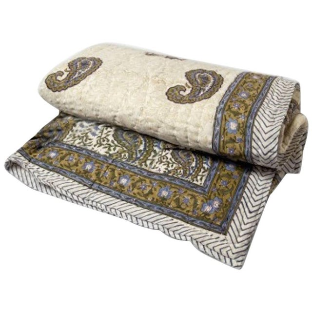 Traditional Nohka Blue Paisley Quilt For Sale - Image 3 of 3