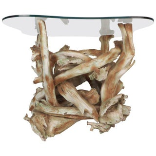 Mid-century Modern Glass Top Driftwood End Table For Sale