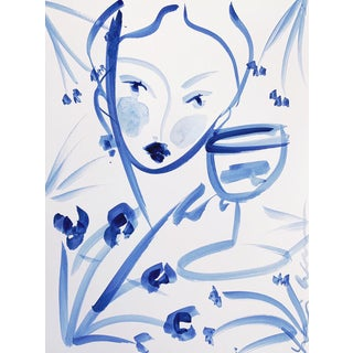 Flowers and Wine in Indigo Susanne by Leslie Weaver For Sale
