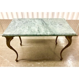 French Louis XV Style Petite Cast Brass Table With Verde Antico Marble Top Preview