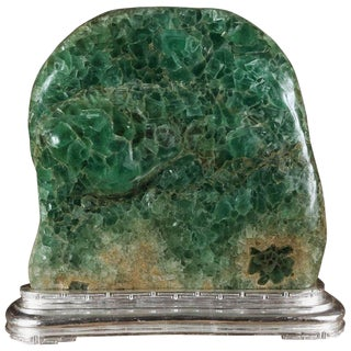 Mid 20th Century Vintage Large Green Fluorite Sculpture For Sale