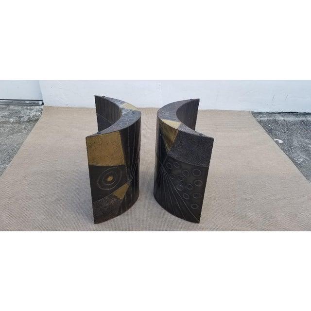 Brutalist Brutalist Paul Evans Sculptural Dining Table Base - 2 Pieces For Sale - Image 3 of 13