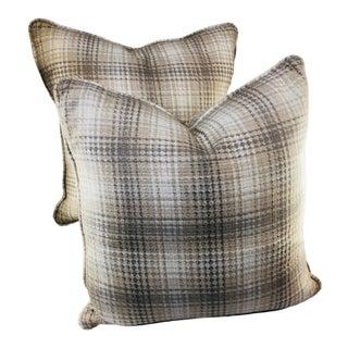 "20"" Square Plaid Robert Allen Pillows - a Pair For Sale"