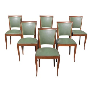 1940s Vintage French Art Deco Solid Mahogany Dining Chairs - Set of 6 For Sale