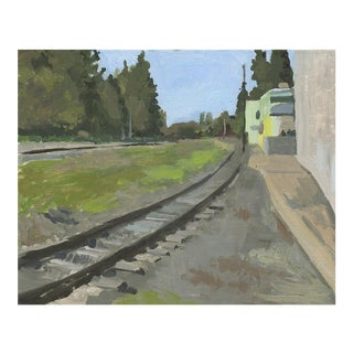 "Sarah F Burns ""Railroad Tracks"" Landscape Painting"
