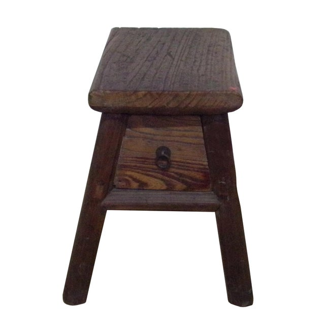 Chinese Raw Wood Rough Finish Accent Single Sitting Stool w Drawer For Sale In San Francisco - Image 6 of 7