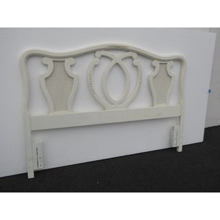 Vintage White Chic Shabby French Country Queen Headboard W Cane Preview