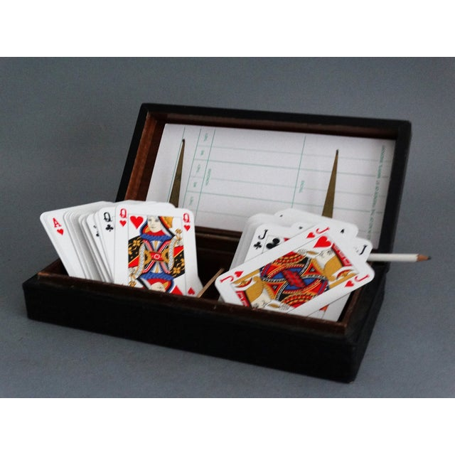 Blue Italian Leather Playing Cards Box Set For Sale - Image 8 of 8